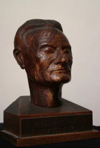 Ivan Wyschnegradsky, wooden bust, height with base 14 cm, by C. Pelletier, c. 1950 (private collection)