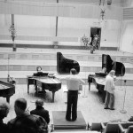 From left to right: Martine Joste, Jean-François Heisser, Jean Koerner, Sylvaine Billier, Michel Decoust, conducting. Seen from the back in the auditorium: Ivan Wyschnegradsky. Rehearsal for the concert of 7 January 1977 at Radio-France. Photo Yaffa Ellenberger
